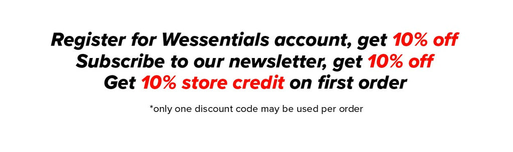 Register for Wessentials account and get 10%off