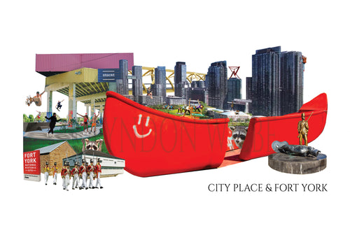 A poster print collage of City Place and Fort York area that includes the big red canoe, The Bentway, Stackt Market, Historic Fort York and of course the buildings of City Place that add to Toronto's skyline.