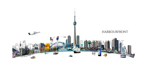 A poster print collage of Toronto's Harbourfront area nestled on Lake Ontario. It's filled with the Harbourfront skyline, the CN tower, The Skydome, boats on the water and all of the aspects that make Harbourfront a big tourist draw.