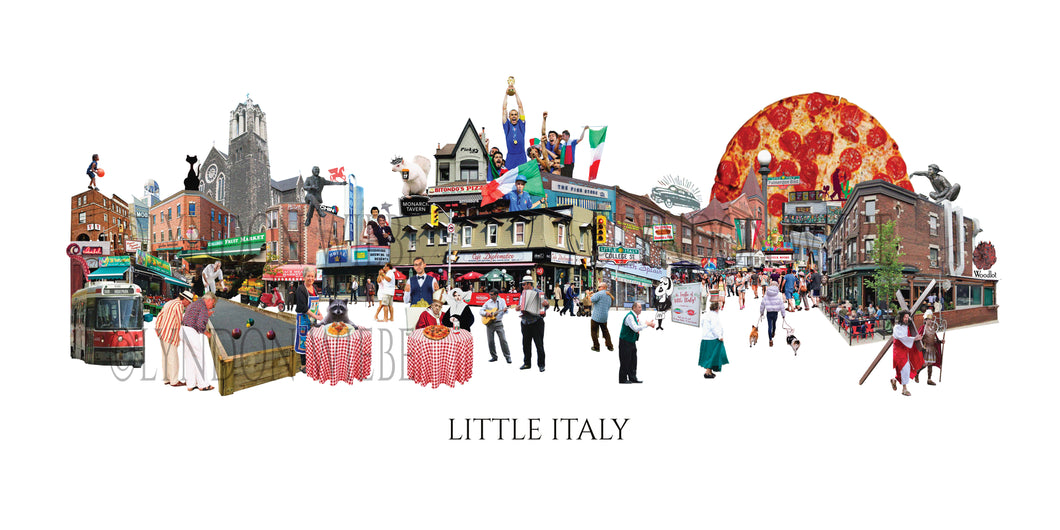 A poster print collage of College Street in the heart of Little Italy. A snap shot of the area with its iconic spots to eat and drink,The Taste of Little Italy, football fans, and some local flavour. Even the Pope has joined us for some pizza!