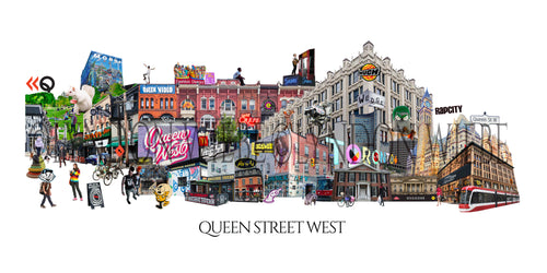 A poster print collage of one of Canada's most famous streets. It's queen street west from the heyday of Muchmusic to the hipsters drinking in Trinity bellwoods park. It includes some iconic shops and landmarks both new and old. Take a stroll down Queen West.