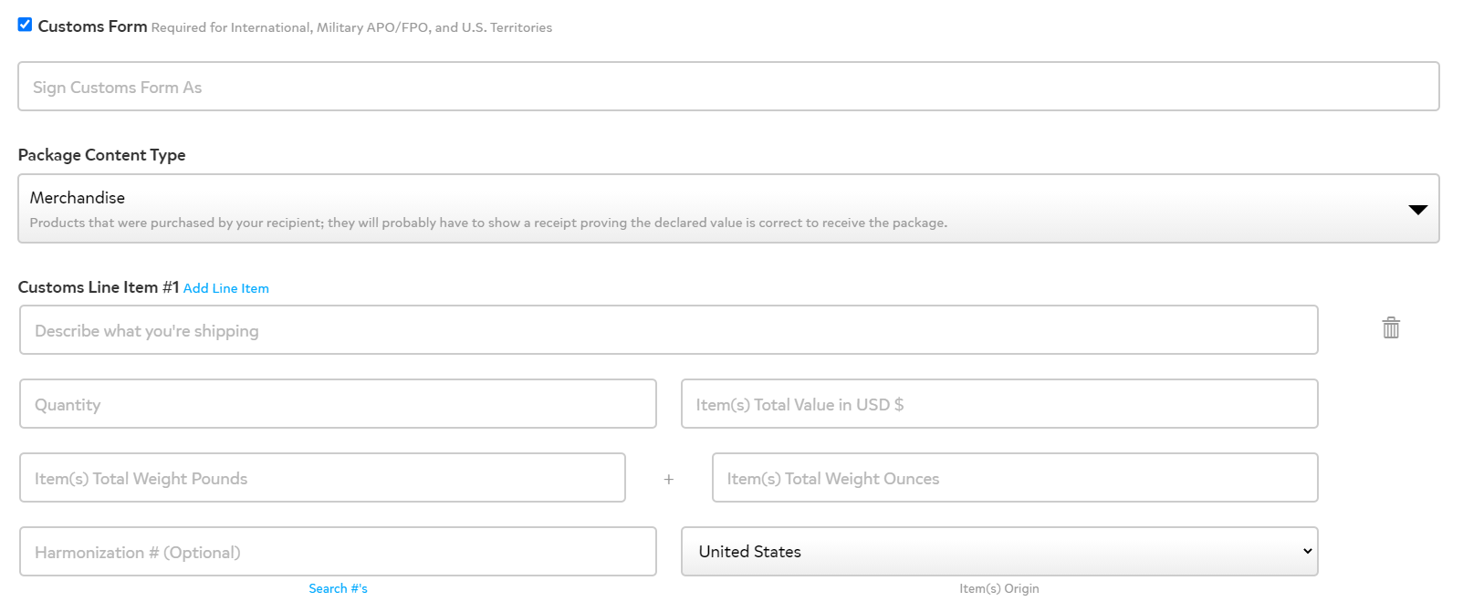 International shipping custom form page showing to enter what's in the package, quantity, value, exact weight, harmonization number, country of origin