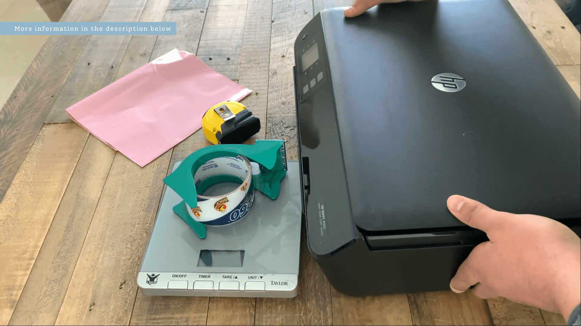 Kitchen scale, measuring tape, poly mailers, printer