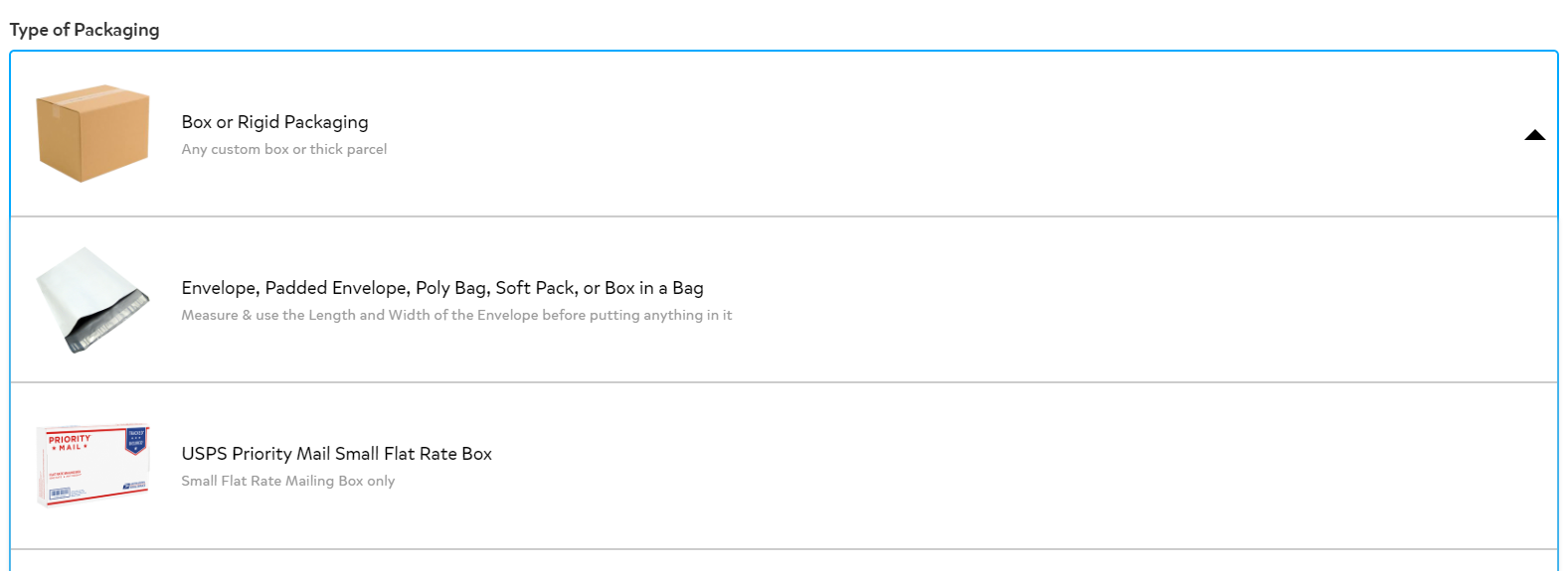 Select the type of packaging page