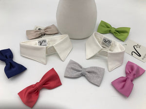 White collar with bow tie