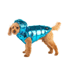 BRIGHT FOIL PUFFER WATERFALL BLUE