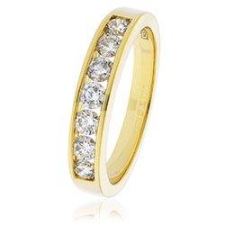 9ct Yellow Gold Channel Set Diamond Band 0.50ct