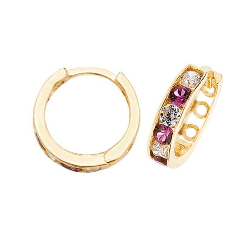 9ct Yellow Gold CZ Ruby Hoop Earrings