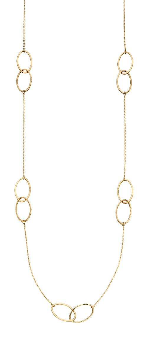 9ct Yellow Gold 24 inch Oval Link Station Necklace