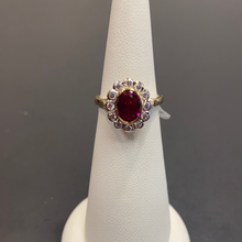 Load image into Gallery viewer, 9ct Yellow Gold Ruby CZ Cluster Ring
