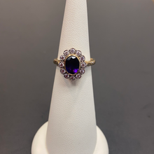 Load image into Gallery viewer, 9ct Yellow Gold Amethyst CZ Cluster Ring