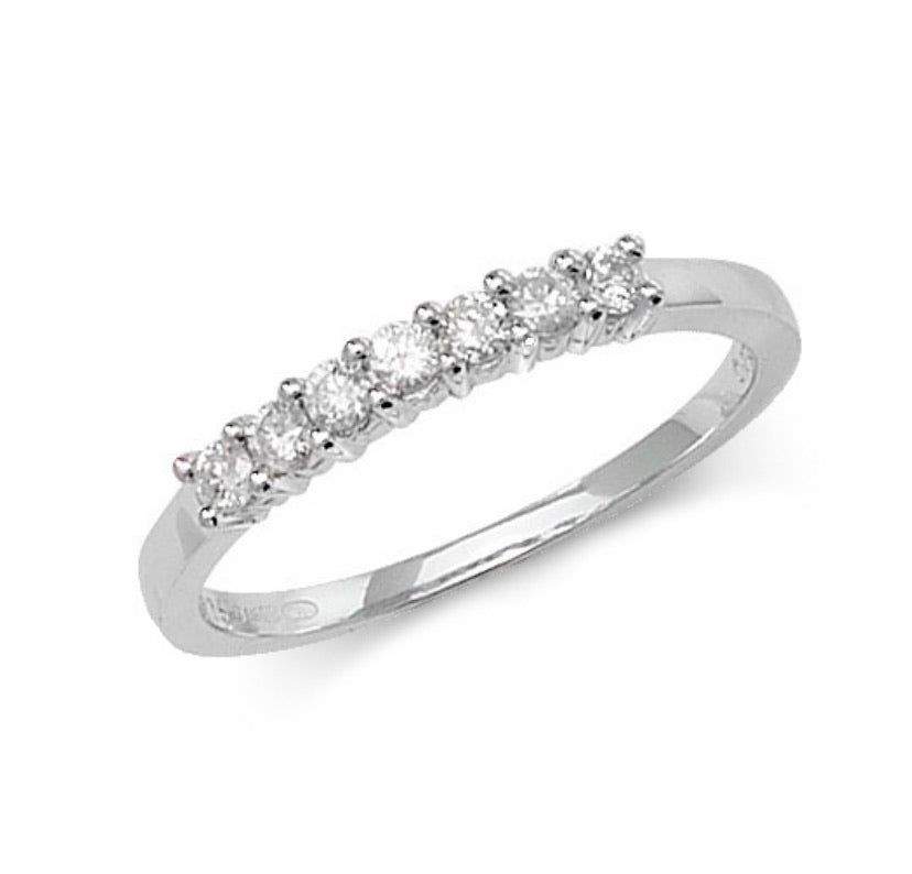 9ct White Gold Diamond Set Seven Stone Half Eternity Ring
