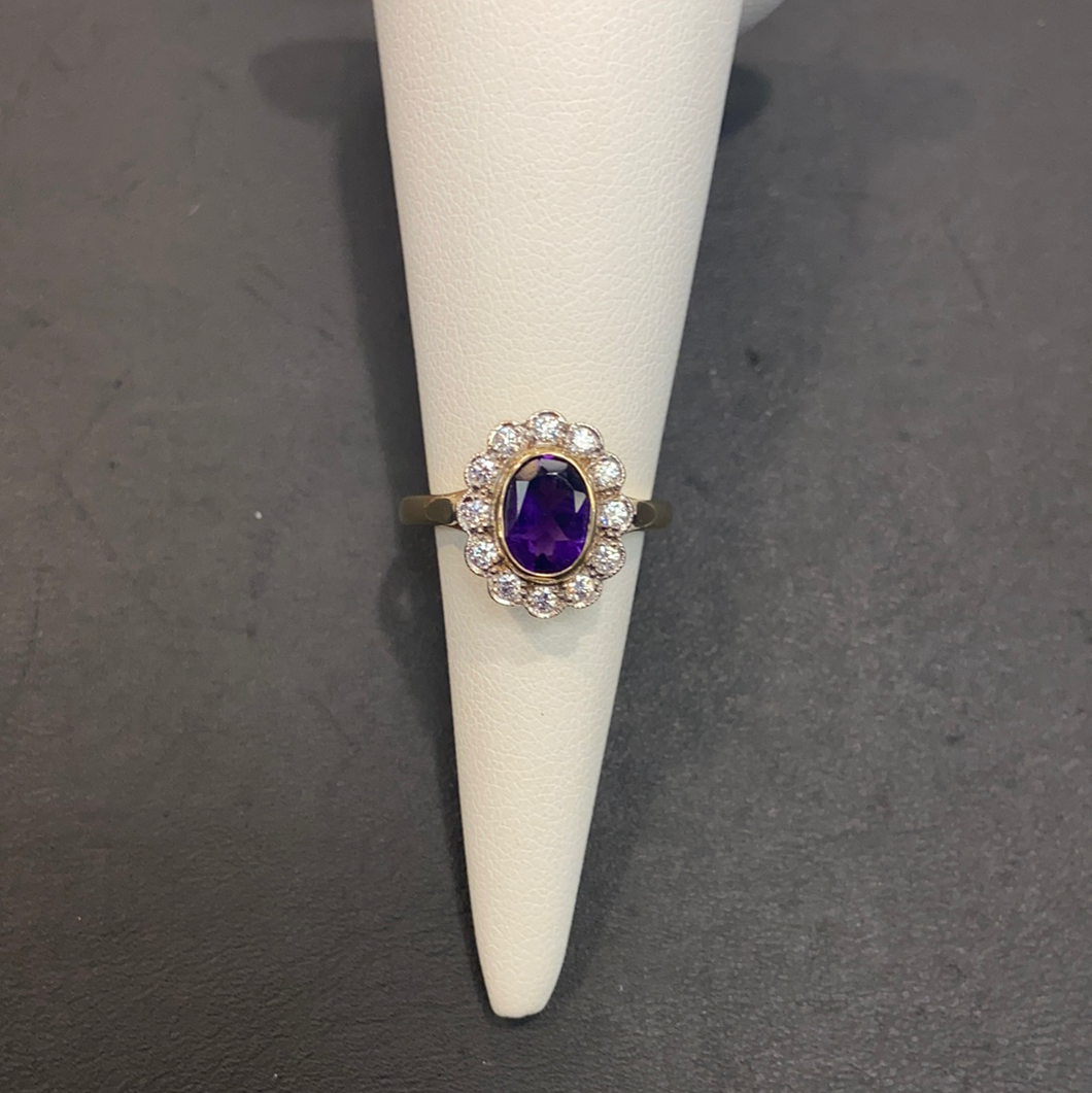 9ct Yellow Gold Amethyst CZ Cluster Ring