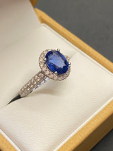 Load image into Gallery viewer, 18ct White Gold Sapphire & Diamond Oval Cluster Ring