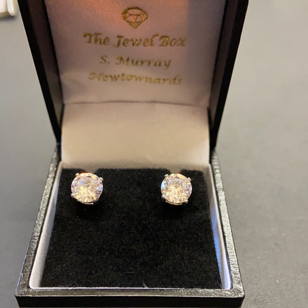 Sterling Silver Cubic Zirconia Solitaire Earrings