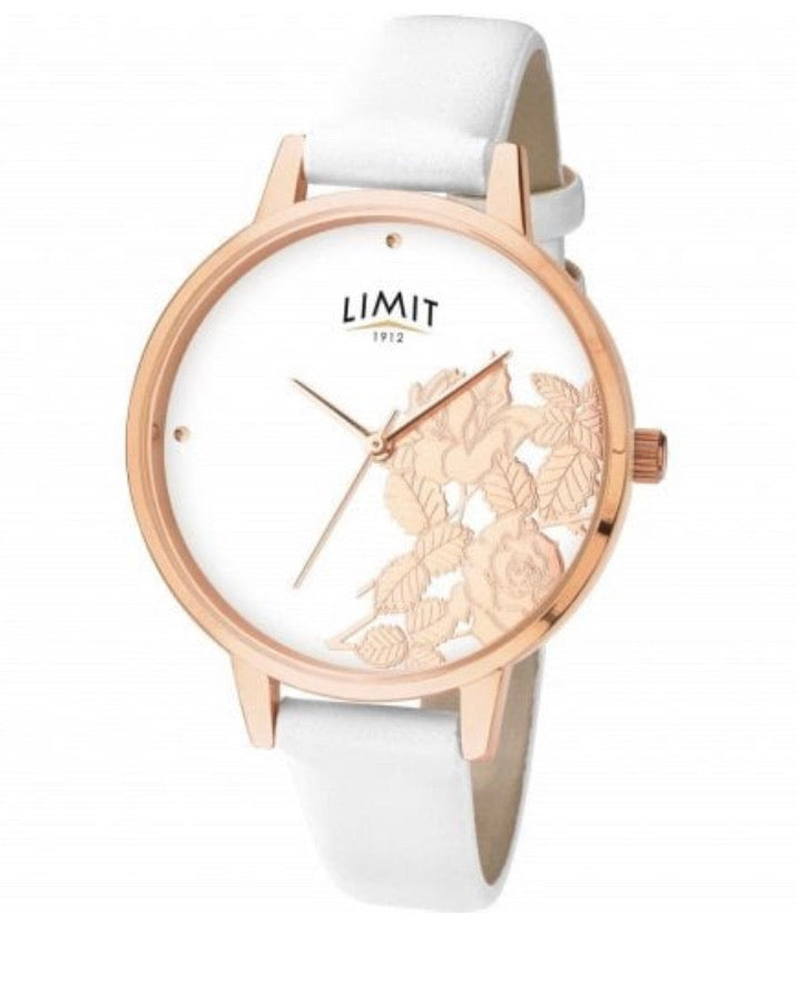 Ladies Limit Floral Design Watch Rose Tone