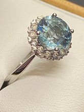 Load image into Gallery viewer, 18ct Aquamarine & Diamond Halo Cluster Ring