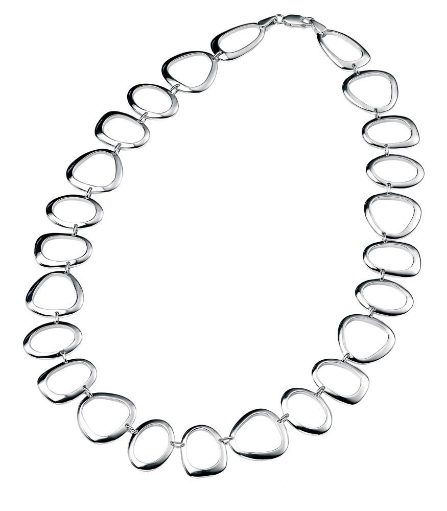 Sterling Silver Large Oval, Triangle & Round Open Link Necklace