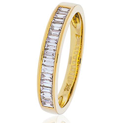 18ct Yellow Gold Channel Set Baguette Diamond Band 0.25ct