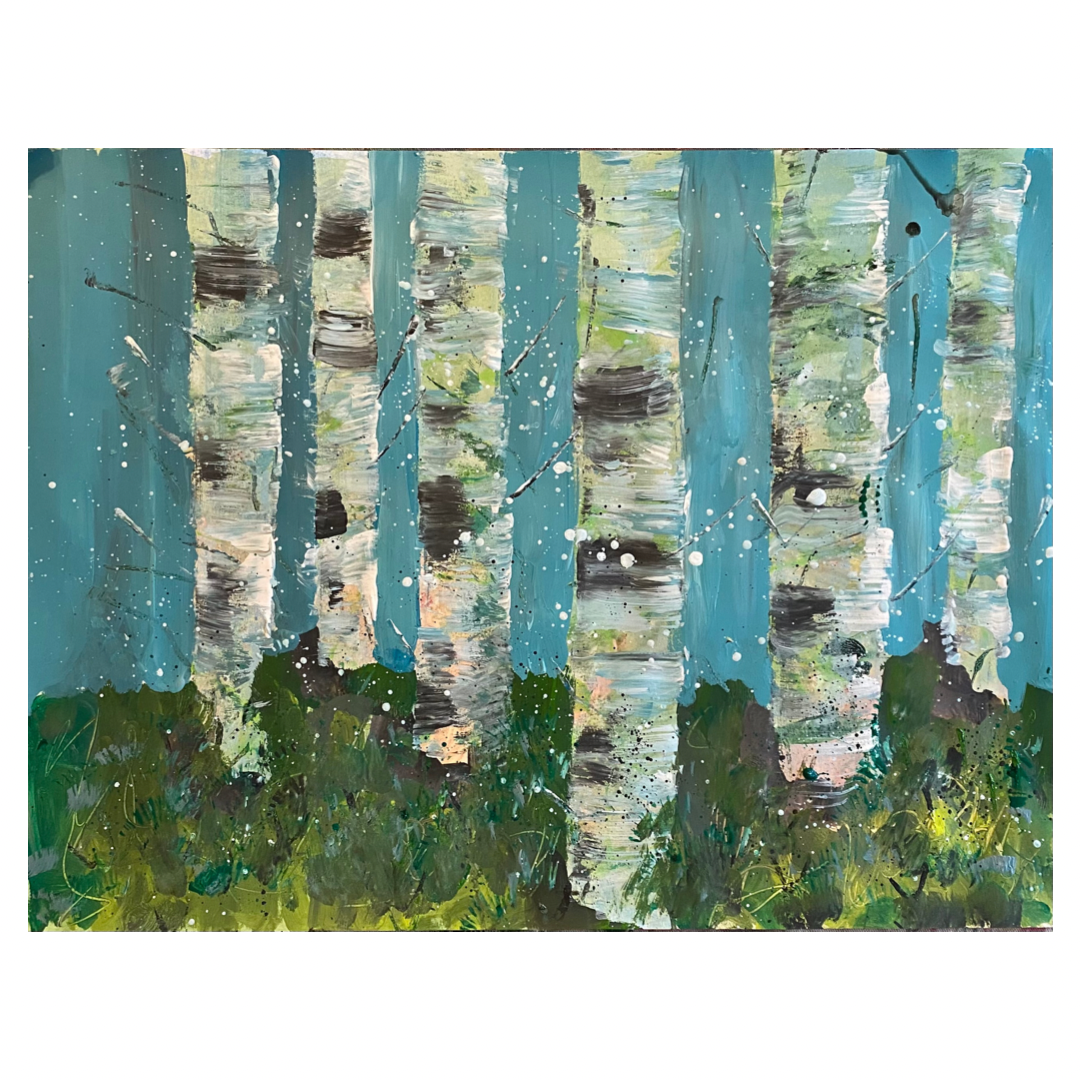active painting of a stand of birch trees with blue sky behind