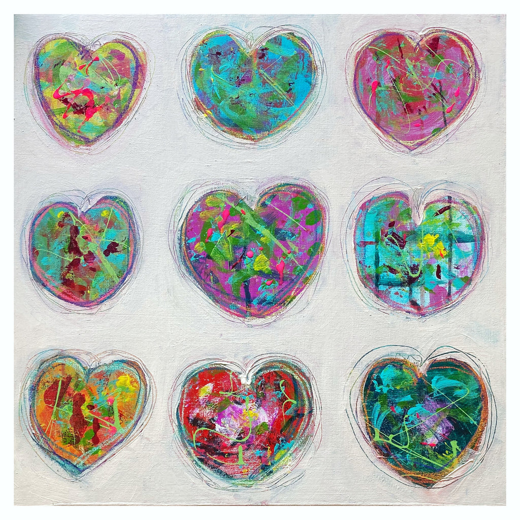 painting featuring multicoloured hearts in a grid formation nestled into a soothing cream background
