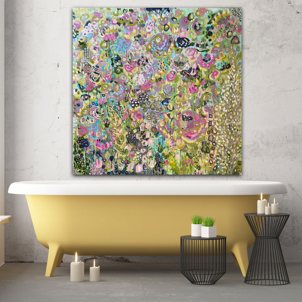 large bright abstract floral painting with yellow bathtub