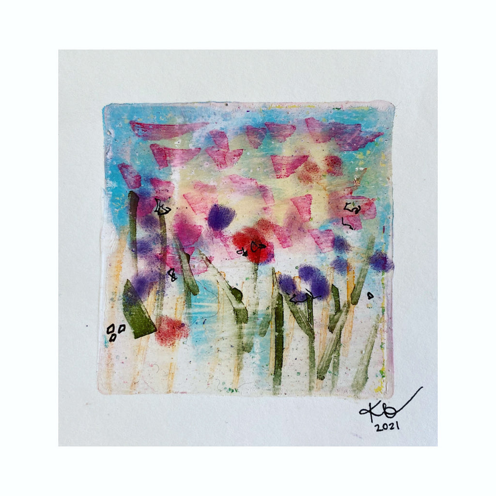 Summer Fireflies original art original watercolour painting original acrylic painting abstract flowers