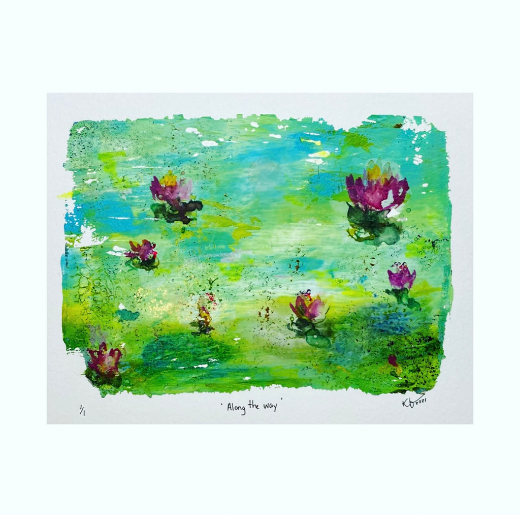 beautiful blues in this waterlily pond scene original art