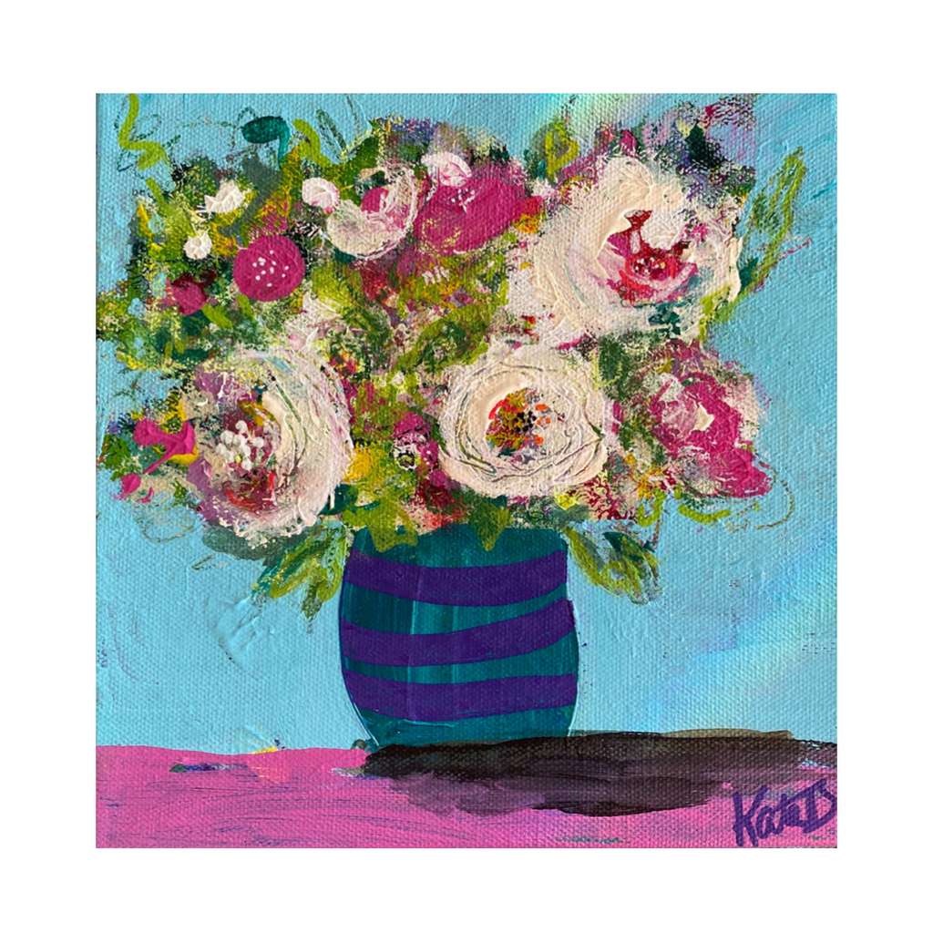 vibrant, happy  painting of flowers in a stripey case