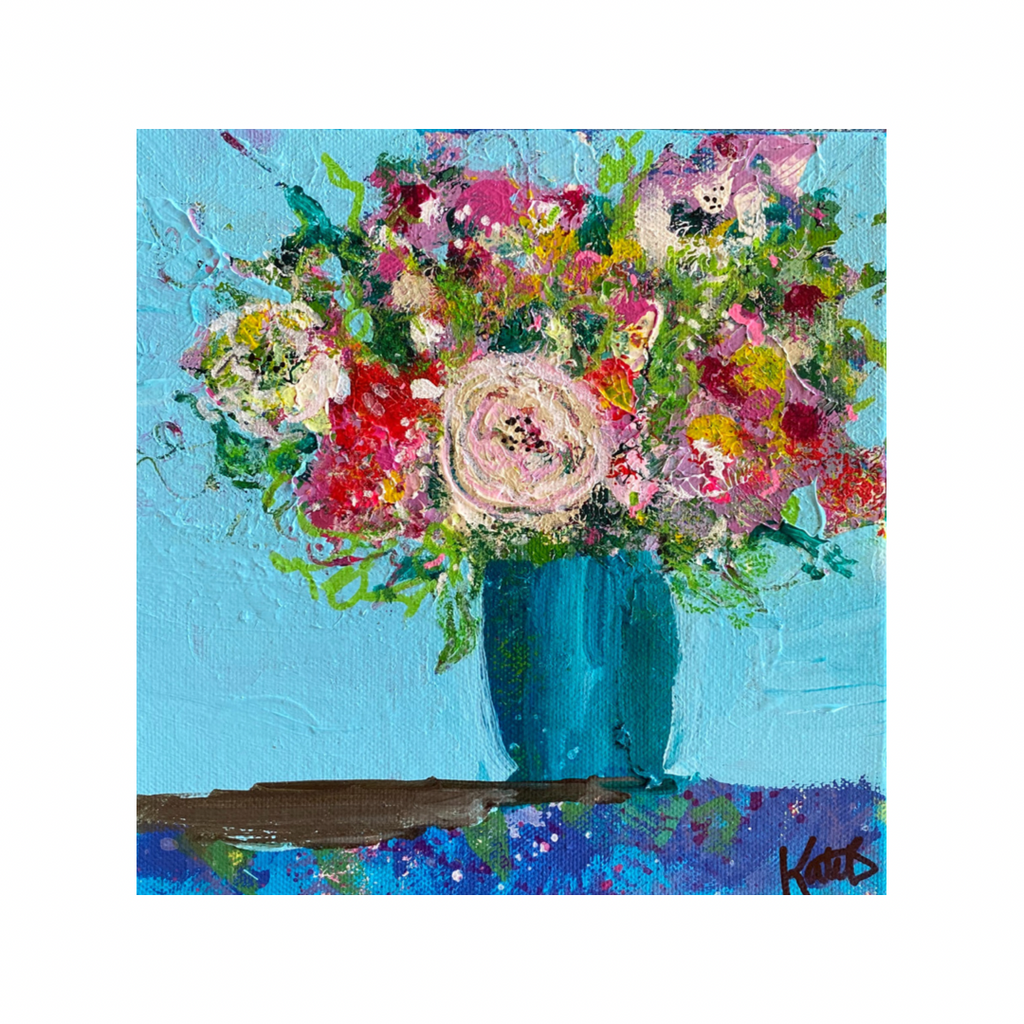 vibrant, happy  painting of flowers in a stripey vase