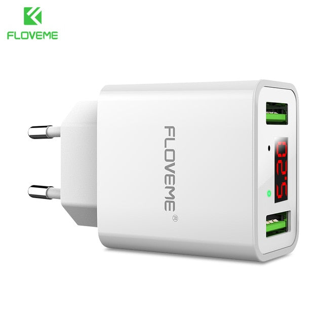 FLOVEME USB Charger 2 Ports LED Display