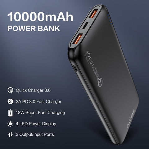 FLOVEME Quick Charger 3.0 Power Bank 10000Mah