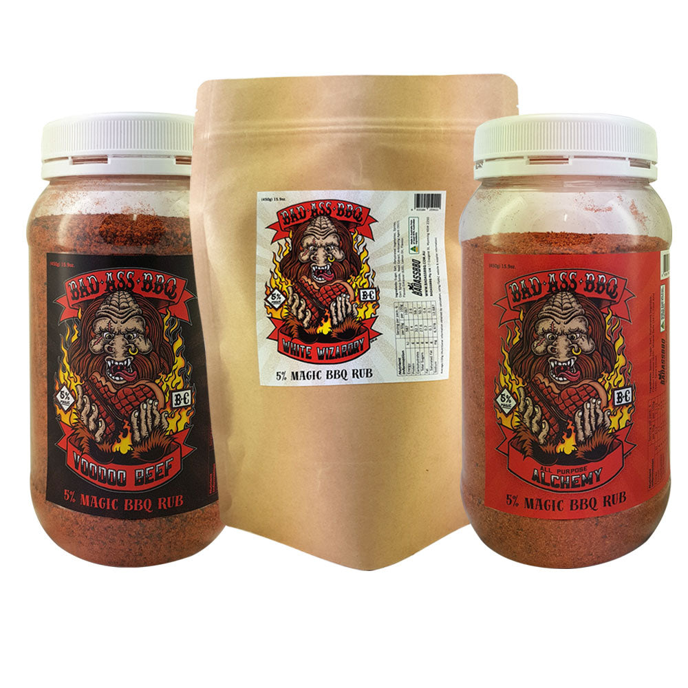 BBQ Dry Rub BADASSBBQ 3pc Bundle White Wizardry, Voodoo Beef and All Purpose 450g