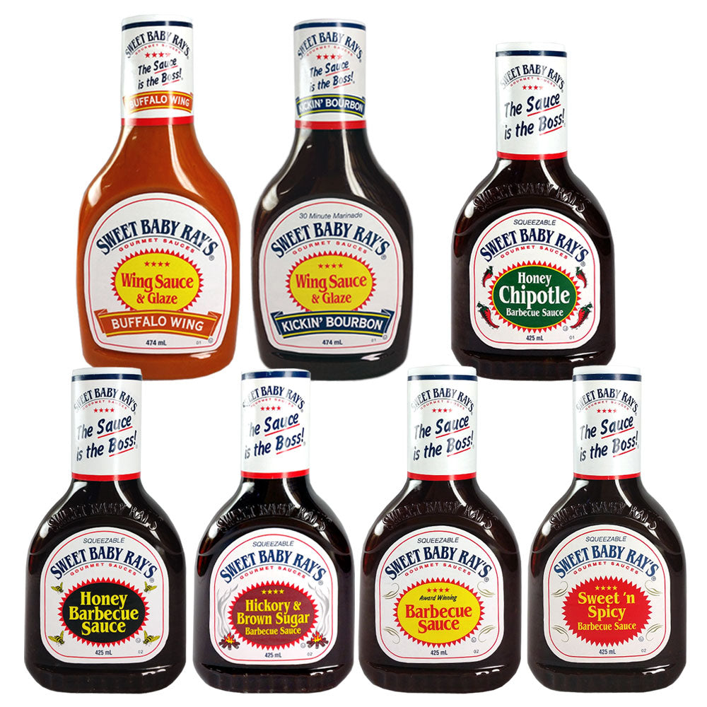 BBQ Sauce SWEET BABY RAY'S Bundle 5 x 425ml Sauces and 2 x 474ml Marindes