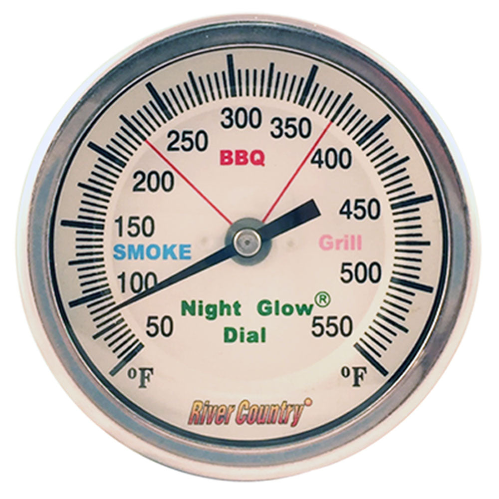 BBQ Thermometer RIVER COUNTRY Nite Glow 3in Dial 2.5in Stem Lrg Mount