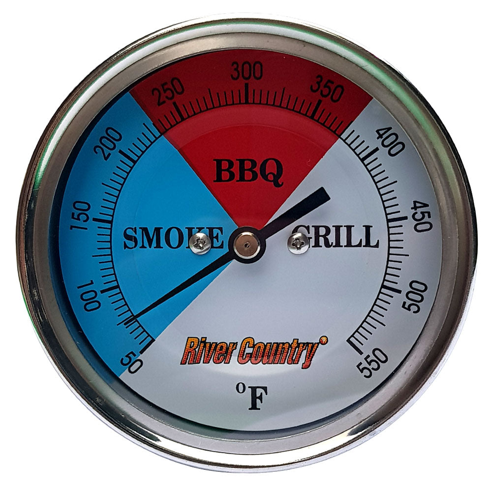 BBQ Thermometer RIVER COUNTRY Red Blue 3in Dial 2.5in Stem Sml Mount