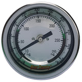 BBQ Thermometer RIVER COUNTRY Silver 3in Dial 4.0in Stem Lrg Mount