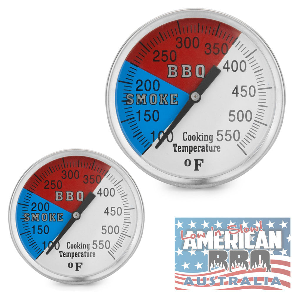 Thermometer BBQ Smoker Full Stainless Steel inch Red and Blue Dial
