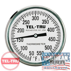 "Thermometer BBQ TEL-TRU Commercial Grade 2"" Dial Includes Wing Nut (MADE IN AMERICA)"