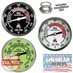 "Thermometer BBQ TEL-TRU Commercial Grade 3"" Dial Includes Installation kit (MADE IN AMERICA)"