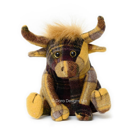 Plaid Highland Cow Paperweight by Dora Designs