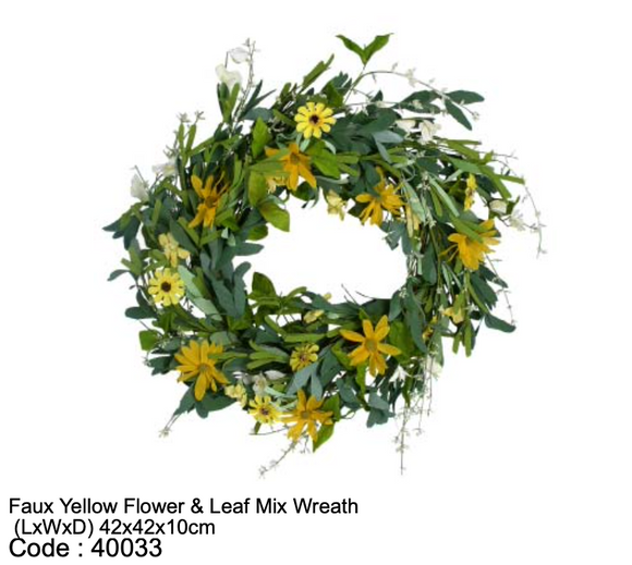 Faux Yellow Flower & Leaf Mix Wreath