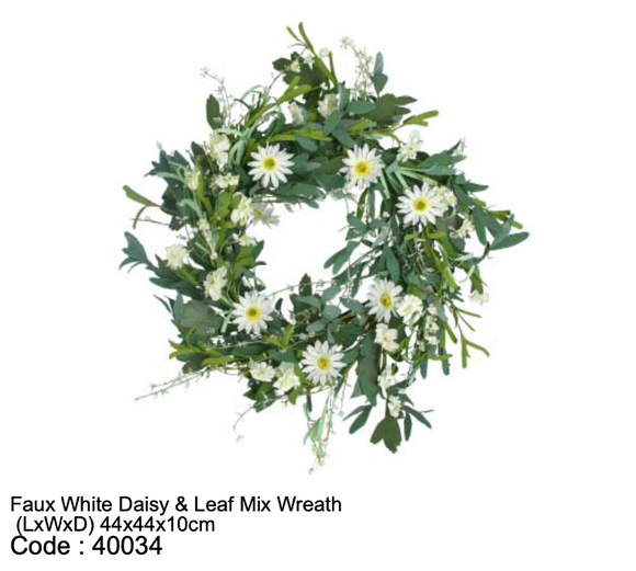 Faux White Daisy & Leaf Mix Wreath