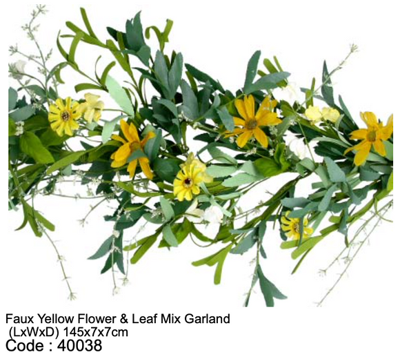 Faux Yellow Flower & Leaf Mixed Garland
