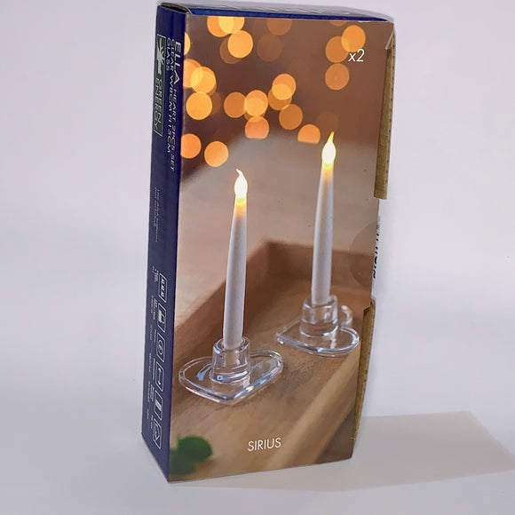 ELLA White with Glass Heart Base 15cm LED Wax Candles (x2)