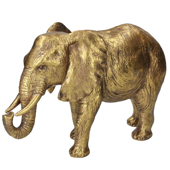 Resin Orn 23cm - Gold Elephant