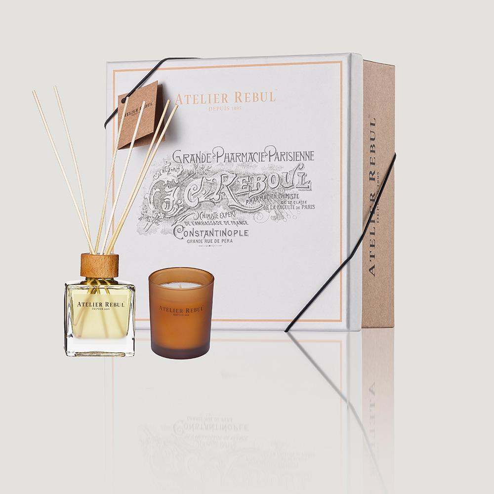 Atelier Rebul Amber Set Reed Diffuser 120 ml and Scented Candle 140 g