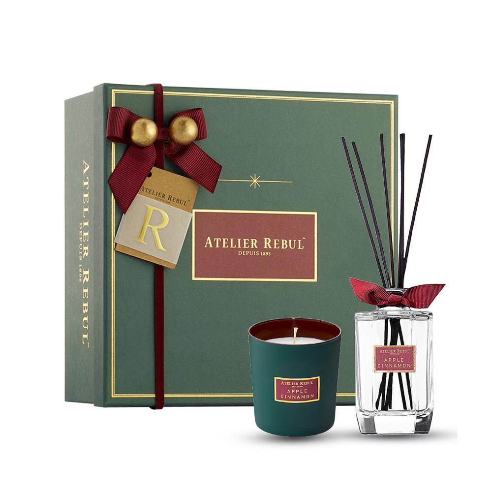 Atelier Rebul Christmas Limited Set Apple Cinnamon Reed Diffuser 200 ml and Candle 210 g