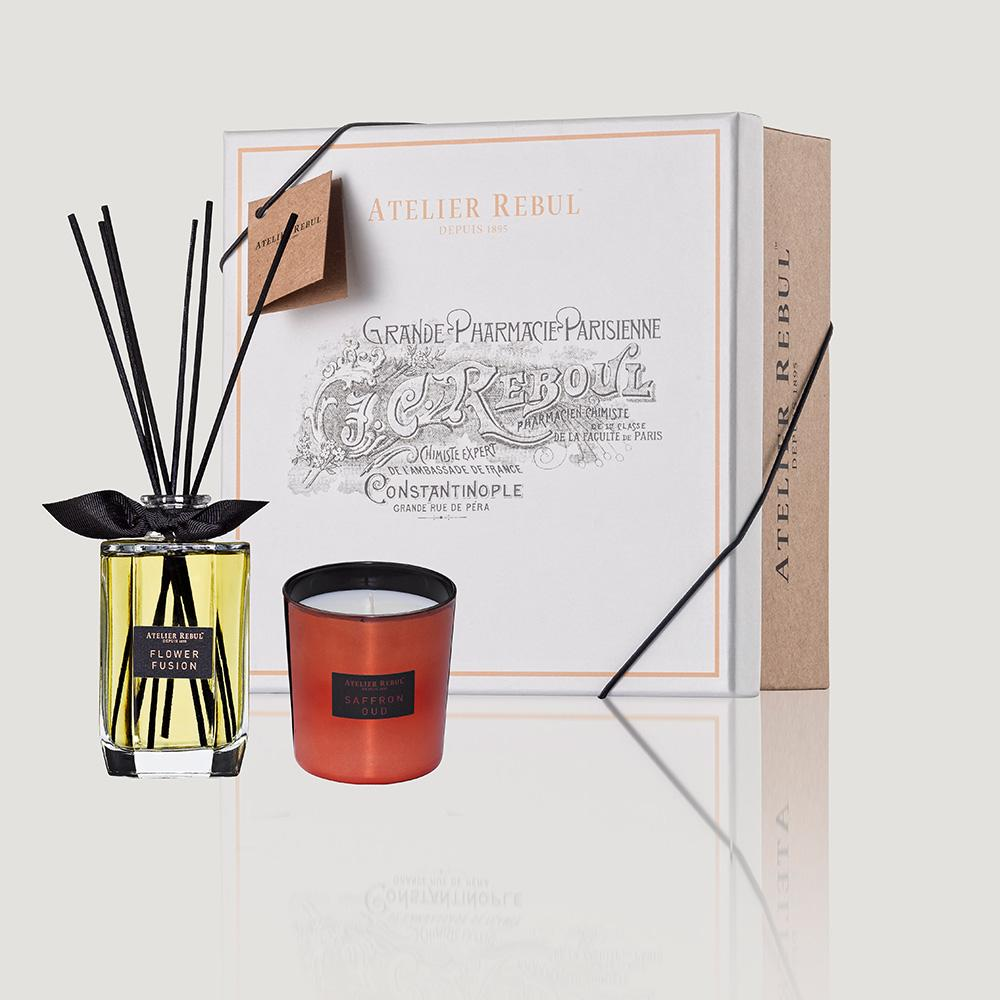 Atelier Rebul Flower Fusion Set Reed Diffuser 200 ml and Scented Candle 210 g