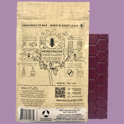 the back of the compostable and sustainable packaging for the blueberry lavender bar next to the bar itself